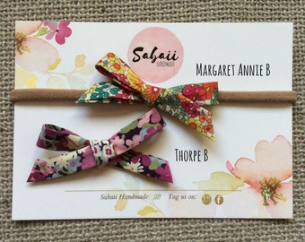 Liberty of London bows, Liberty of London headbands or hair clips, gifts for girls, baby headbands, hair accessories, hand tied bows