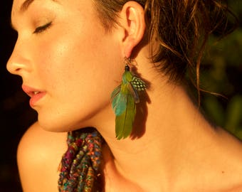 """Natural Macaw Feather Earring """"Amazon"""""""