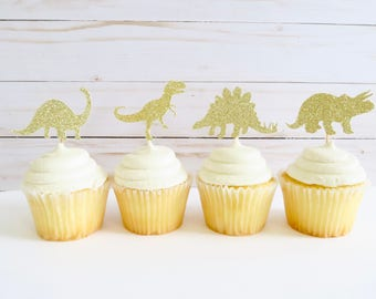 Dinosaur Cupcake Toppers - Cupcake Toppers - Dinosaur Birthday Toppers - Glitter Cupcake Toppers