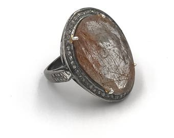 Golden rutilated quartz diamond ring, Diamond jewelry, Statement ring, Oval ring