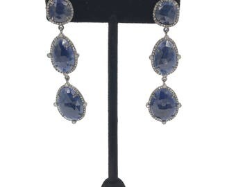 Blue sapphire and diamond sterling silver earrings
