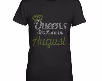 Born in august bling etsy for Custom t shirts in queens ny