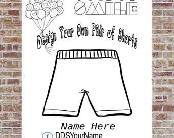 Shorts Coloring Page, Design a Shirt, DotDotSmile, Marketing, Cute Design, Small Business, Personalized design, Modern Design