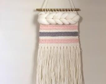 Woven Wall Hanging / Weaving / Boho decor / Merino wool fiber art / Fiber Art / Textile Craft / Nursery Decor / Wall Art