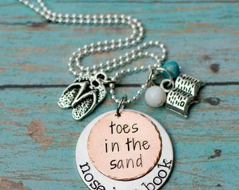 Beach necklace - hand stamped book necklace - toes in the sand - nose in a book - gift for reader - beach gift - mixed metals - sandals