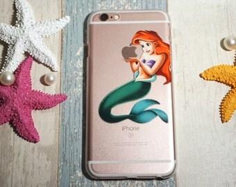 Disney Mermaid iPhone 8 case, iPhone 8 plus case, iPhone case 7 plus,Transparent Clear Phone Case iPhone,Case for red iPhone 7