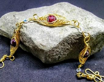 Gleaming Garnets Herringbone Bracelet