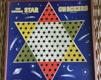 Vintage Star Checkers board; 1938 Chinese checkers