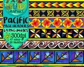 Pacific Island themed page footers & header clip art, Polynesian themed, Instant Digital Download