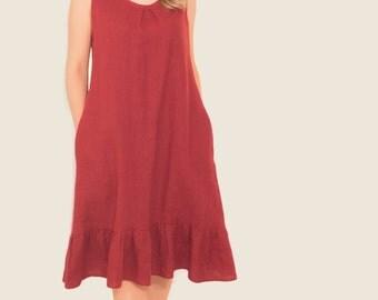 Linen summer dress/Linen red dress/Midi linen dress/Women linen dress/Linen clothing/Maternity dress