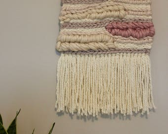 Neutral Pink & Cream Woven Wall Hanging