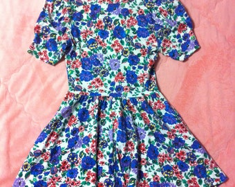 Vintage Colorful Floral Mini Dress / 80s 90s Vintage Floral Dress