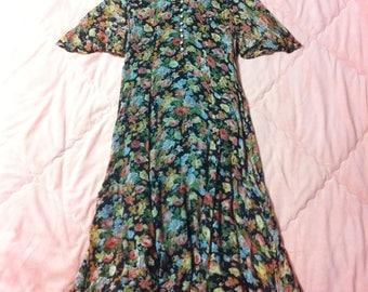 90s Vintage Floral Dress, 90s Vintage Floral Maxi Dress, Long Floral Dress, Colorful Floral Print Dress, Vintage Floral Print Dress