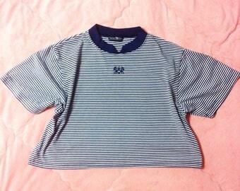 90s Vintage Striped T-Shirt, Navy Blue Striped T-Shirt, Blue Striped Tee, 90s Vintage Striped Shirt, 90s Vintage Striped Crop Top