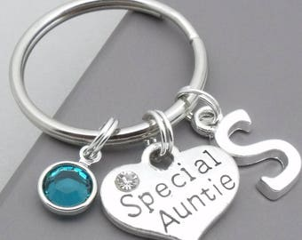 Special auntie monogram initial keyring | special auntie keychain | personalised auntie keyring | auntie gift | letter | birthstone