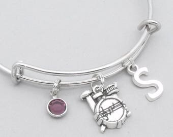 Drum kit charm bracelet with monogram initial | personalised drums jewelry | drums bangle | drums gift | birthstone