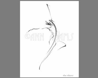 010 Abstract Drawing, Dancing Figure drawing, Pencil sketch, Ink Print from My Original Artwork by Ann Adams