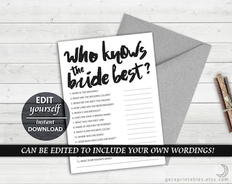 Who Knows The Bride Best: Editable Bridal Game, Bride Tribe, Wedding Shower Games, Hens Night Party Games Bachelorette Party Who Knows - 025