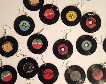 vinyl record earrings, 78s, 45s, vintage media, records
