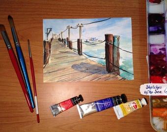 China Beach Dock, Watercolor and Ink Nautical Decor Print