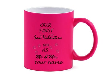 Valentine's Day Personalized Coffee Mug Mr. & Mrs. Custom Heart  Pink 11 oz
