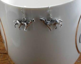 Silver Wolf Earrings,Wolf Earrings,Howling Wolf Earrings,Silver Howling Wolf Jewelry,Wild Animal Earrings Jewelry
