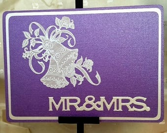 MR & MRS - Handcrafted Greeting Card w/verse -  Wedding Card - W/Heartfelt Messages