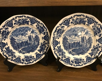 Wedgwood Dinner Plate Royal Homes Of Britain - Blue And White - Enoch Turnstall - Floral Trim - Castle