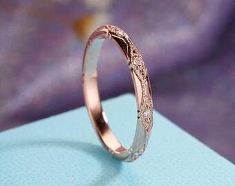 Rose Gold Wedding Band Women Vintage Art Deco Diamond Eternity Milgrain  Bridal Set Stacking Antique Promise