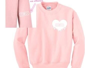 Dripping Heart w/ Bandage - Sweatshirt Pullover Bandaid Stars Menhera Fairy Kei Yume Creepy Kawaii Cute Harajuku Pink Pastel Grunge Goth