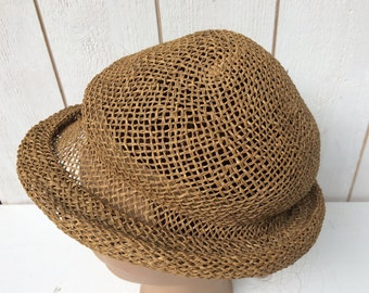 Antique Straw Hat, Vintage Straw Hat, Raffia Hat, Old Hat from the 20's, French Hat Milliner, Gift for Her,