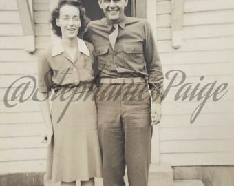 1940's | Military Couple | black and white photograph
