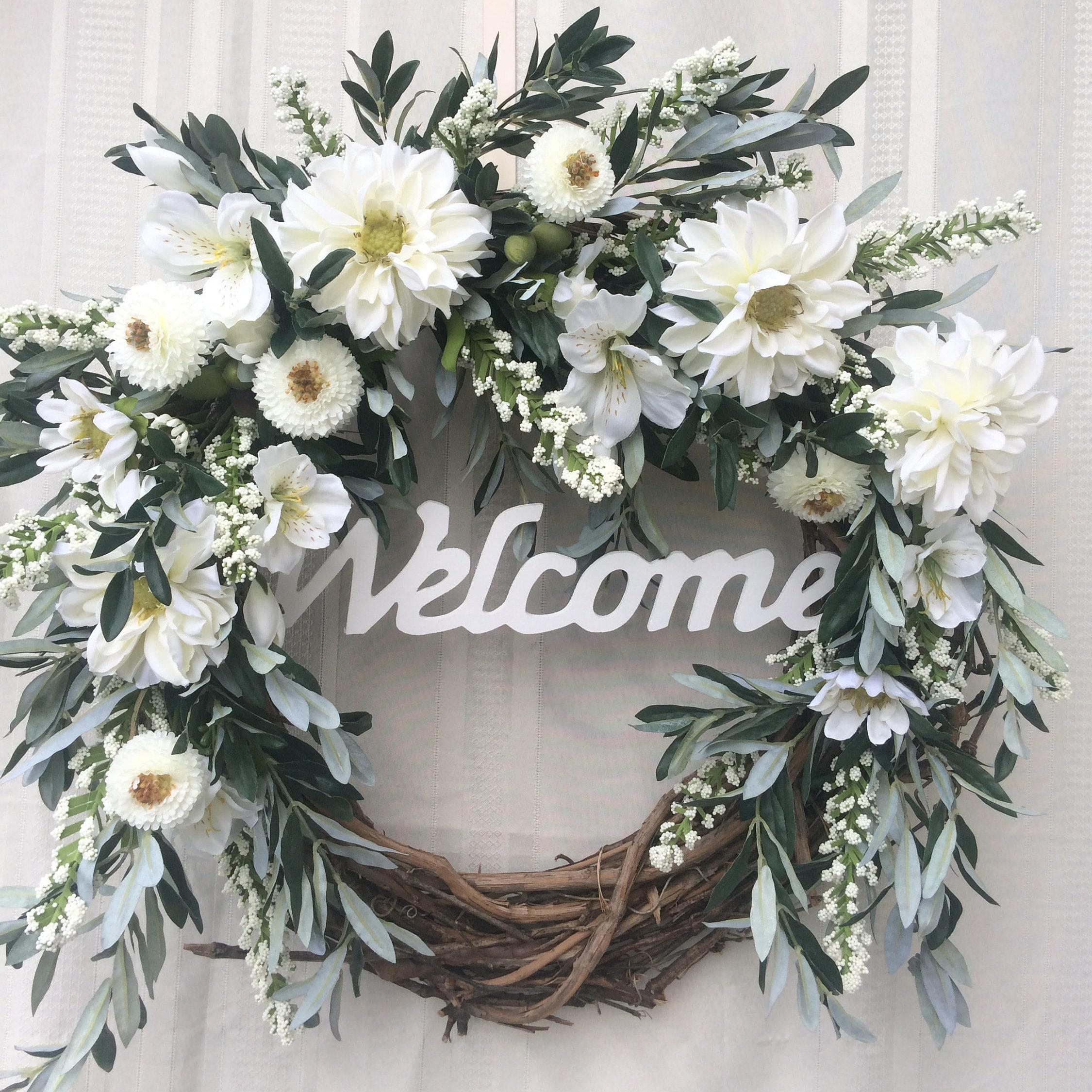 Welcome wreath front door wreath door wreath entry wreath welcome wreath front door wreath door wreath entry wreath white flower wreath rubansaba