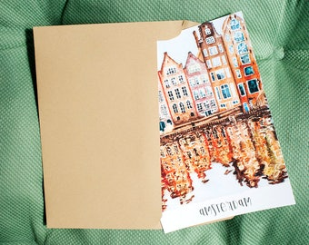Watercolor Postcard with Amsterdam channel based on my Original Painting, Collectible Postcard