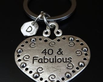 40 and Fabulous Keychain, 40th Birthday for Him, 40th Birthday for Her, 40th Birthday Gift,40th Birthday Gift for Her,40th Birthday Gift Him