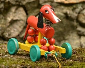 Vintage Pull Wooden Dog Toy,Vintage Brio Wooden Toy,Old Wooden Toy,Vintage Dachshund Wooden Toy,Dog Toy,Wooden Dachshund Toy,Collectible Toy