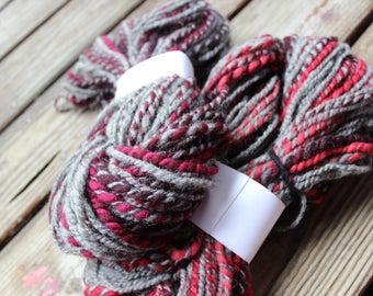 Shetland and corriedale wool handspun 2 ply bulky yarn - 190 yards.