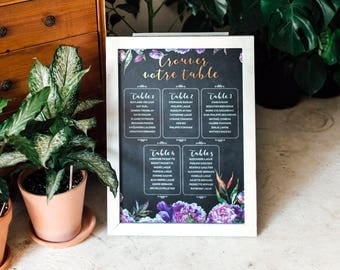 Wedding Table Plan - Chic, Flowers, Watercolor, Vintage, Purple, Romantic, Gold, Slate