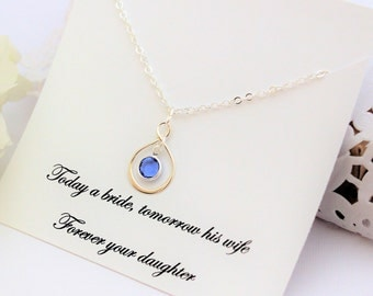 MOTHER OF BRIDE Gift From Bride Gift for Mom from Daughter Silver Infinity Necklace Gift For Mother from Daughter Birthstone Necklace