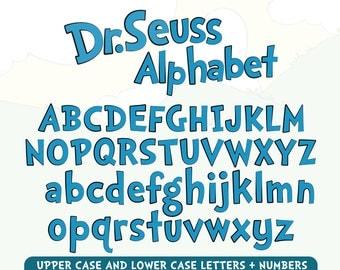 Dr Seuss Alphabet, Dr Seuss Font, Cat in the hat Alphabet, Dr Seuss Letters, Dr Seuss Numbers Dr Seuss Party, Dr Seus Birthday
