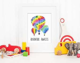 Hot Air Balloon Watercolor Art Print, Adventure Awaits Digital Prints, Nursery Watercolour Wall Art Print, Printable Painting Art Poster #41