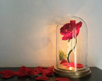 Beauty and the Beast Rose, Enchanted Rose, Rose in Glass Dome, Gold Base, Flower Lamp, Light Up Rose, LED Lights - 11""