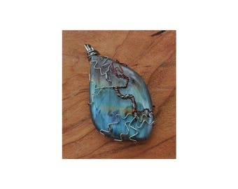 Tree of Life pendant, labradorite, metaphysical, cabochon