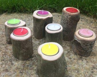 Rustic Wooden Tealight Holders
