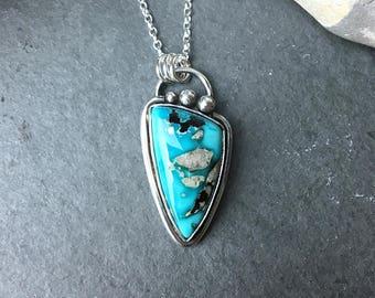 Natural turquoise pendant, Sleeping Beauty turquoise necklace, Turquoise sterling silver pendant, Boho necklace, Sterling silver necklace