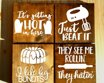set of 4 funny kitchen signs 2, kitchen signs, farmhouse sign, rustic sign, home decor, wood sign