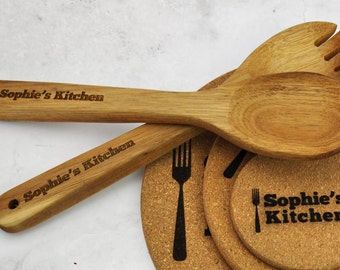Personalised Wooden Spoon 2 Set Kitchen Utensils (Don't Pay RRP!)