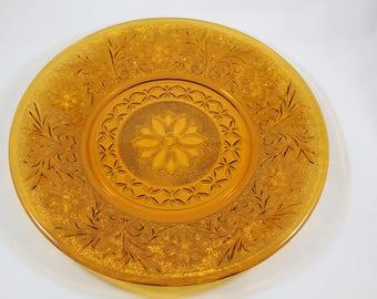 Anchor Hocking Sandwich Glass Plate  Desert Gold