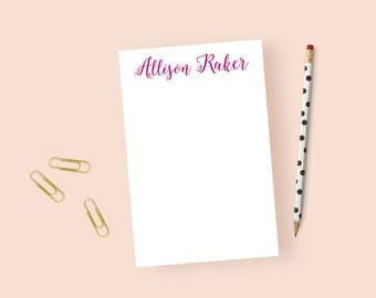Calligraphy Notepad Personalized Stationery Notepad, Personalized Notepad for Women, Elegant Notepad Women, Note Pad Custom, 5.5 x 8.5