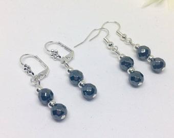 Hematite Earrings, Hematite Sterling Silver Earrings, Hematite Drop Earrings, Grey Gemstone Earrings, Minimalist Earrings, Gift for her,
